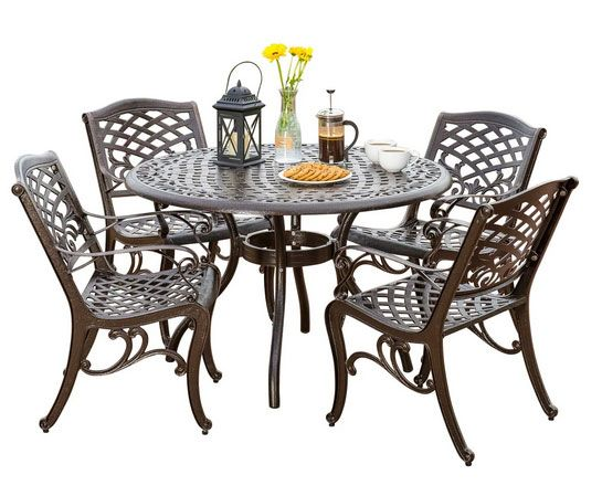 Covington Outdoor 5-Piece Bronze Cast Aluminum Dining Set with Umbrella Hole