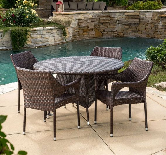 Lorelei Outdoor 5-Piece Multi-Brown Wicker Round Dining Set with Umbrella Hole
