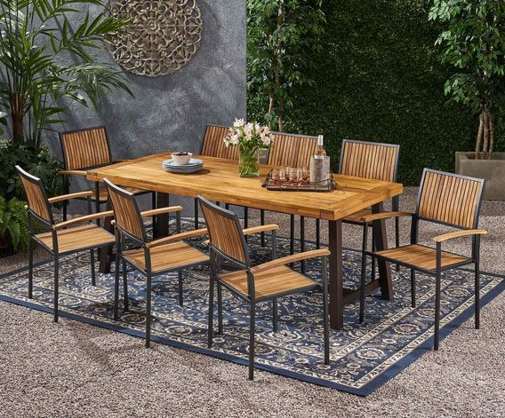Cherry Outdoor Acacia Wood 8 Seater Dining Set