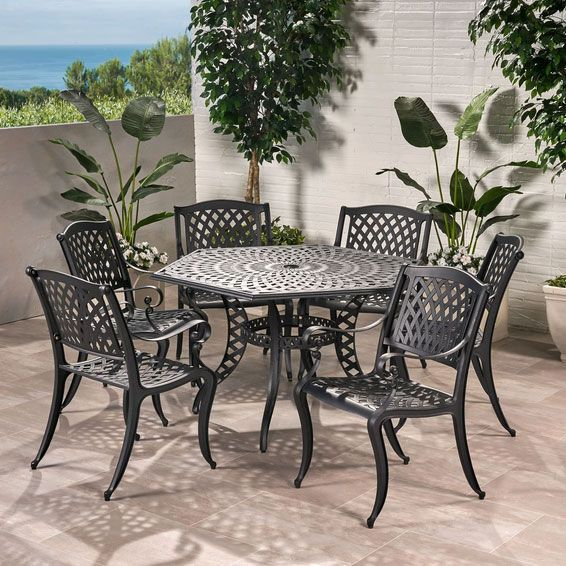 Hammond 7 Piece Bronze Cast Aluminum Outdoor Dining Set