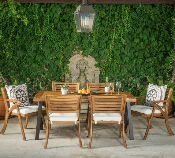 DeSoto 7 Piece Teak Finish Acacia Wood Patio Dining Set