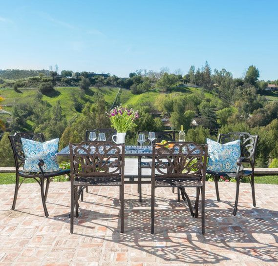 Fonzo Outdoor 7 Piece Bronze Cast Aluminum Rectangular Dining Set