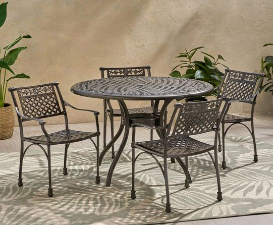 Mikell Traditional Outdoor Aluminum 5 Piece Dining Set with Round Table