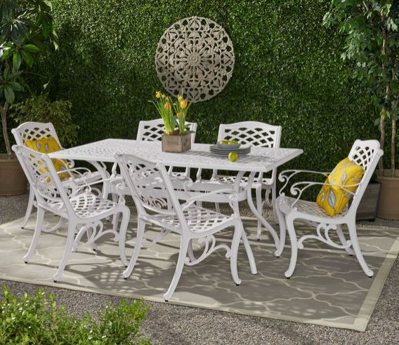 Honolulu Traditional Outdoor Aluminum 7 Piece Dining Set
