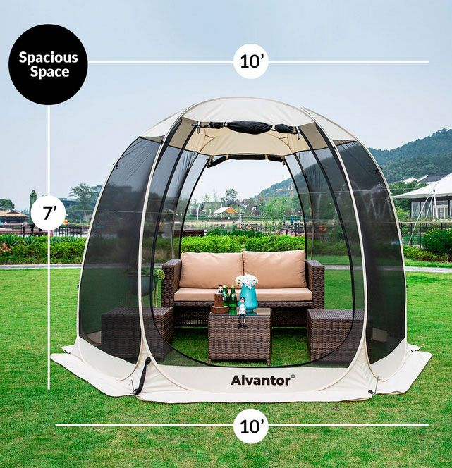 Alvantor 10'x10' Outdoor Camping Tent Canopy Gazebo 4-6 People Screen House for Patios, Instant Pop Up Tent