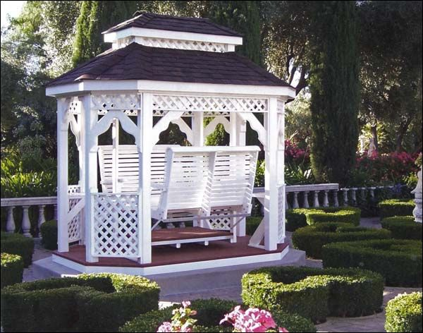 Vinyl Double Roof Oval Gazebo Swings
