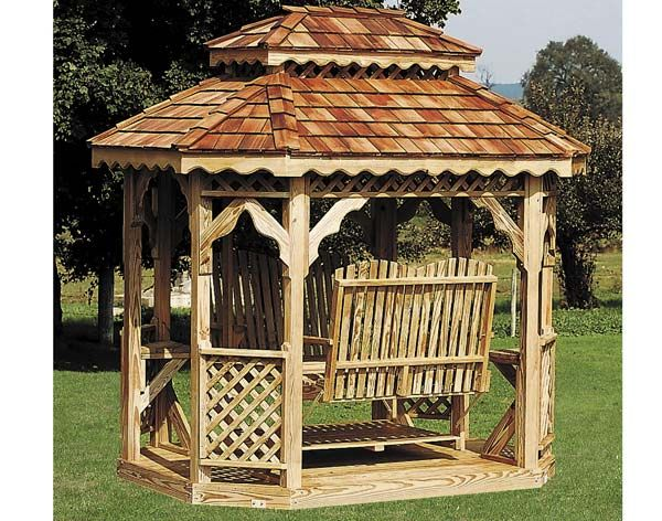 Treated Pine Double Roof Oval Gazebo Swings