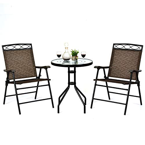 Giantex Patio Dining Set Round Glass Table with 2 Patio ...
